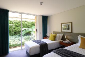 twin beds-garden view